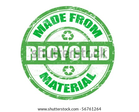 Green grunge rubber stamp with the text  made from recycled material written inside the stamp - stock vector