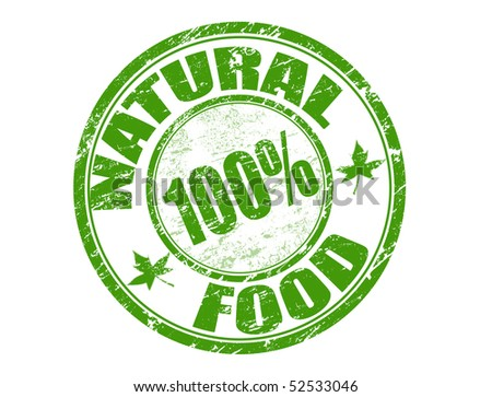 Green grunge rubber stamp with the text natural food 100% written inside the stamp - stock vector
