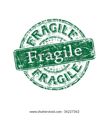 Green grunge rubber stamp with the word fragile written inside the stamp - stock vector