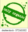 Green grunge rubber stamp with the word only organic written inside the stamp - stock vector