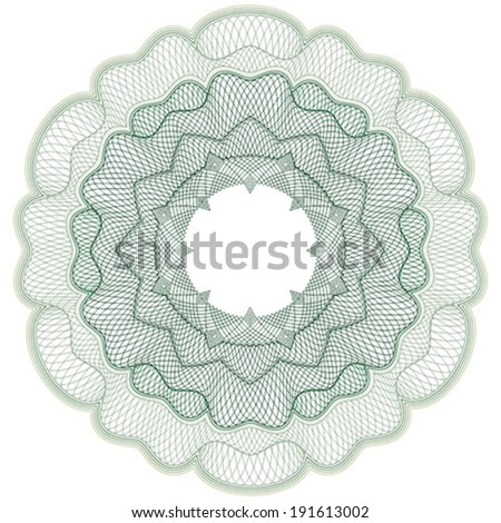Green guilloche elements for certificate or diploma / currency and money design / vector / CMYK color / All lines are easy editable - stock vector