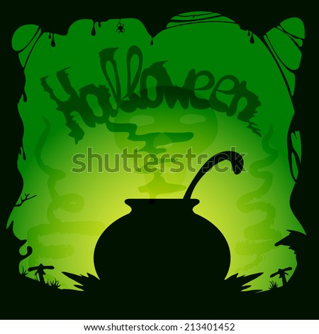 Green Halloween background with witches cauldron, illustration. - stock vector