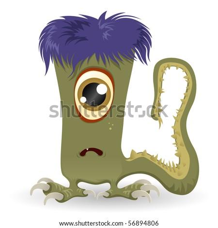 Green Halloween Monster - stock vector