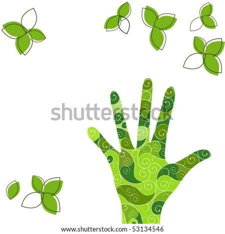 green hand - stock vector