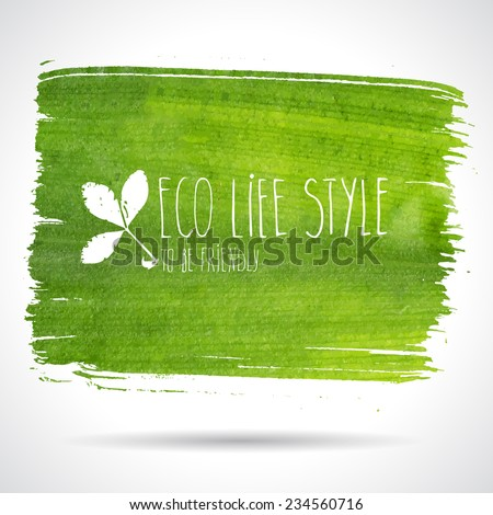 Green hand-drawn banner - eco background - stock vector
