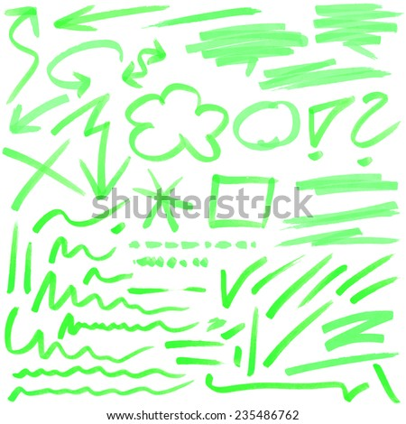 green hand drawn colored markings from a highlighter - stock vector
