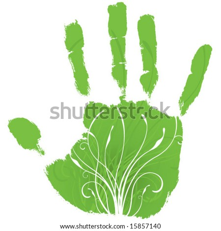 Green hand giving life to growth; green concept. - stock vector