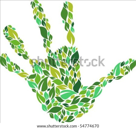 Green hand made from leaves pattern - stock vector