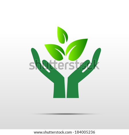Green hand with green leaf over white background - stock vector