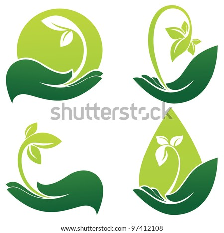 green hands, vector collection of ecological symbols and signs - stock vector