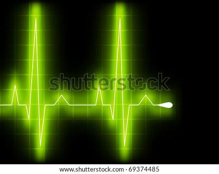 Green heart beat. Ekg graph. EPS 8 vector file included - stock vector