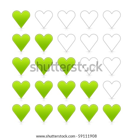 Green heart ratings web 2.0 button. Satin smooth shapes with shadow and reflection on white - stock vector