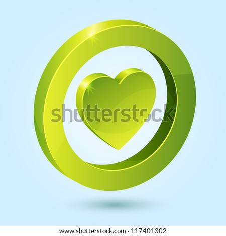 Green heart symbol isolated on blue background. This vector icon is fully editable. - stock vector