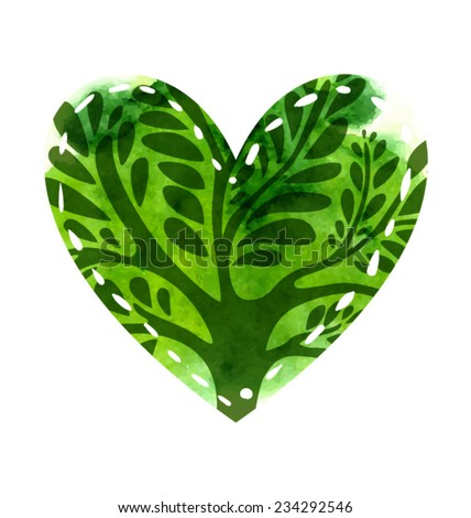 Green heart with watercolor texture and ornate tree inside. Vector artistic illustration. - stock vector