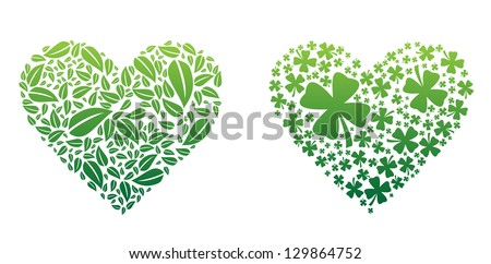 Green Hearts - stock vector