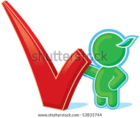 Green Hero with Positive Checkmark - stock vector