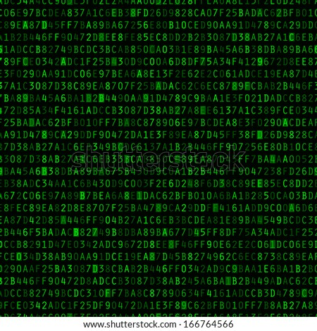 Green hexadecimal computer code repeating vector background wallpaper  - stock vector