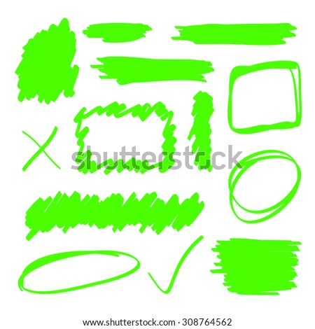 Green highlighter marker elements set - stock vector