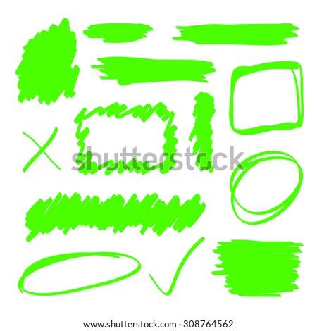 Green highlighter marker elements set - stock vector