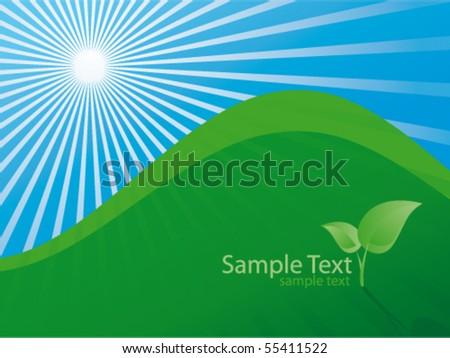 Green hill - stock vector