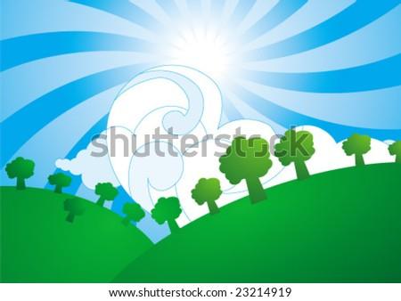 green hills - stock vector