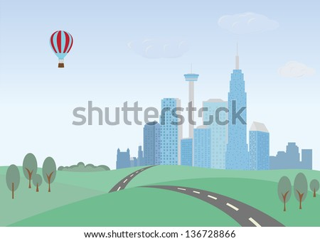 Green hills and cityscape - stock vector