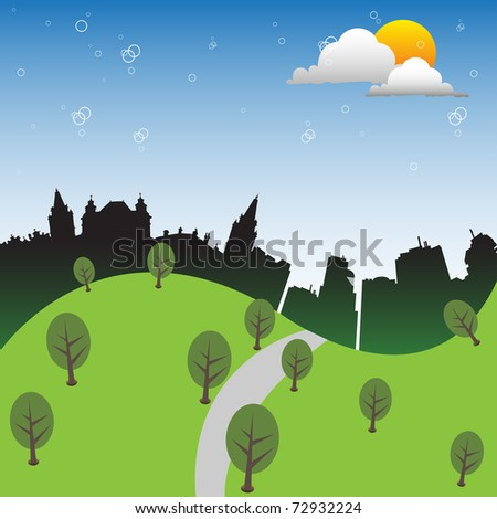 Green hills near a city. Green city concept - stock vector