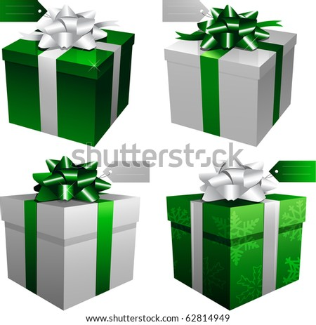 Green holiday christmas gift boxes
