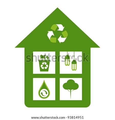 Green home eco friendly design concepts - recycle bin, energy saver lights, water conservation, reforestation. - stock vector