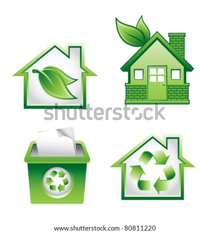 Green homes, recycle bin, and symbols on white backdrop - stock vector