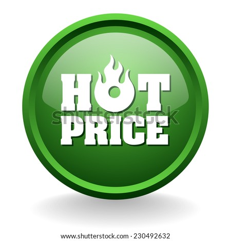 Green hot price button on white background