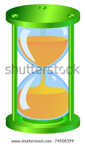 Green hourglass made as icons with glossy surfaces