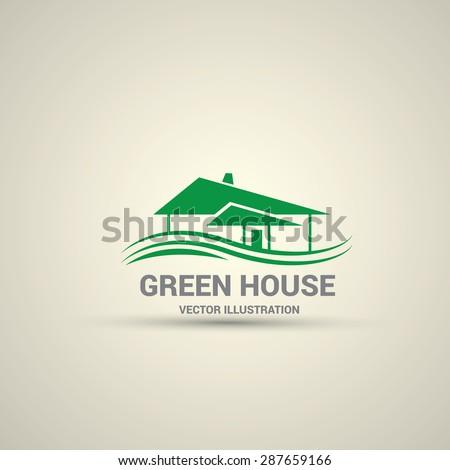 Green House abstract real estate countryside logo design template. Realty theme icon. Building vector silhouette. - stock vector