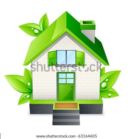 green house and leaf - stock vector