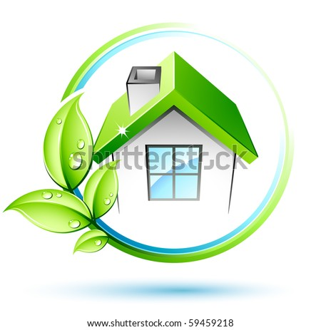 Green house and leaves - stock vector