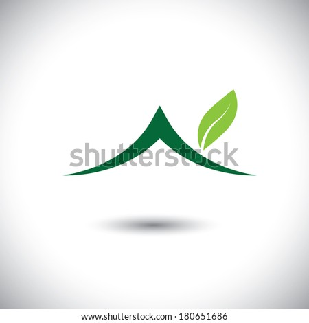 Green house icon with leaves - eco concept vector. This graphic also represents residence built using green technologies, sustainable development, nature conservation, etc - stock vector