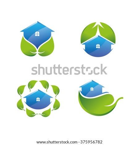 Green House Icons Set - stock vector