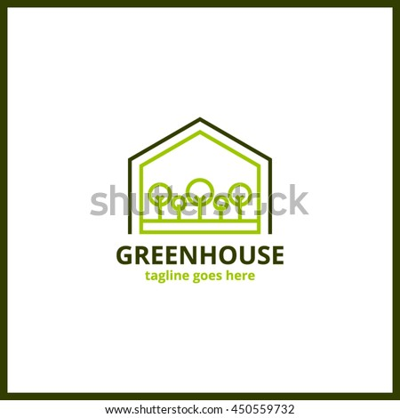 Green house line minimal logo. Nature vector sign and mark.