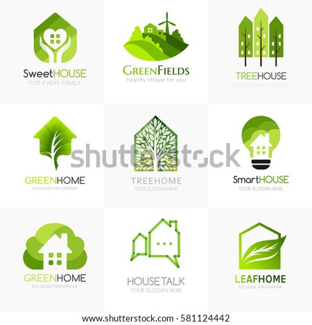 Green House Logo Templates Conceptual Icon For Hotels Real Estate Firms Eco Friendly