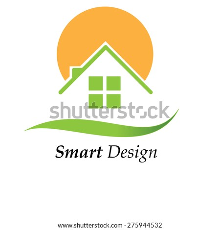 Green House logo with sun - stock vector