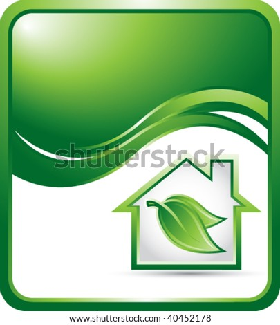 green house on green wave background