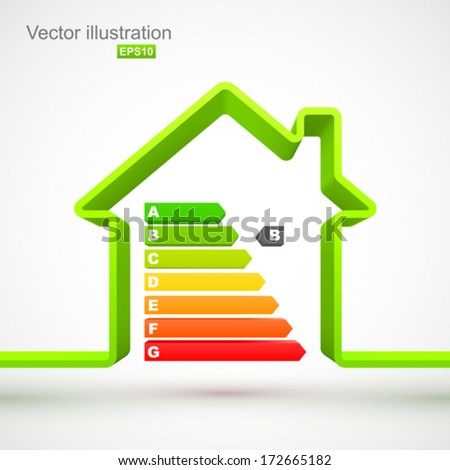 Green house outline with energy efficiency rating. - stock vector