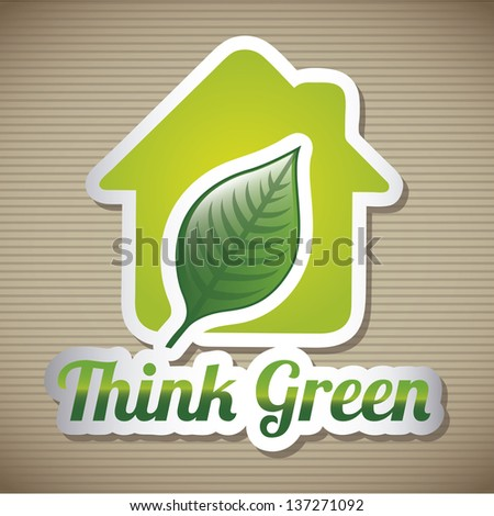 green house over brown background. vector illustration - stock vector