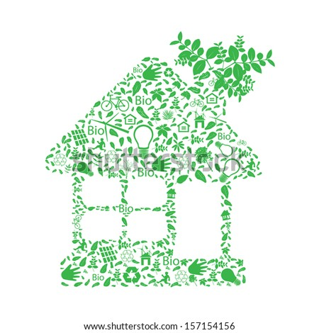 Green house symbol over environment icons   - stock vector