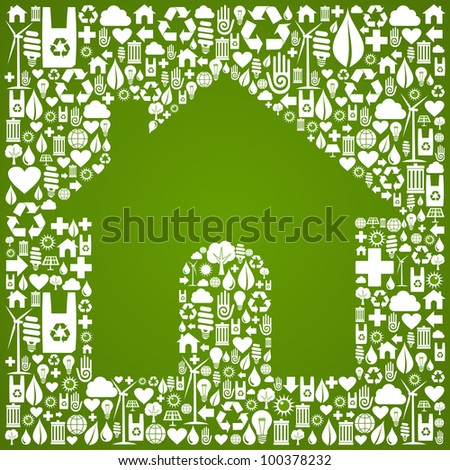 Green house symbol over environment icons background. Vector file available.