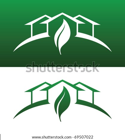 Green House Vector Both Solid and Reversed - stock vector