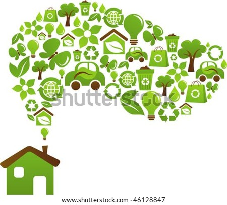 Green house with icons of birds, butterflies and flowers - stock vector