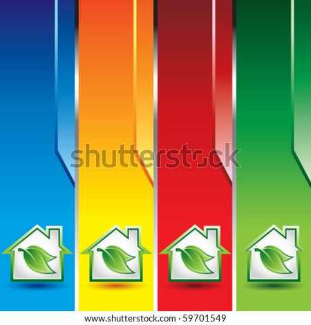green house with leaf colored vertical banners - stock vector