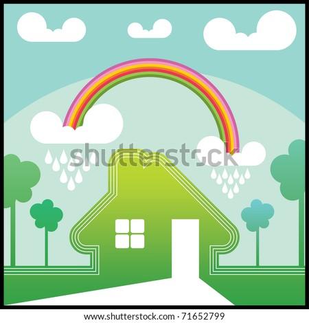 Green house with rainbow - stock vector