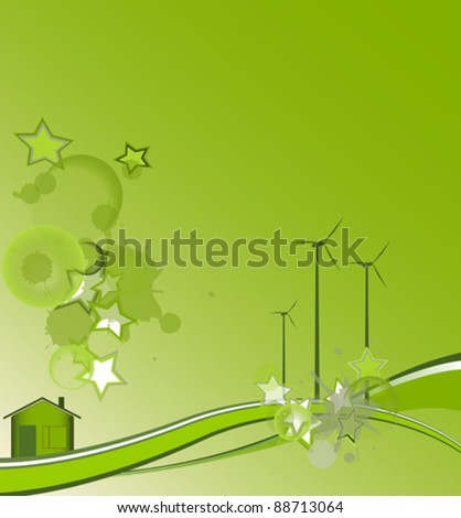 Green house with stars, environment design, vector illustration